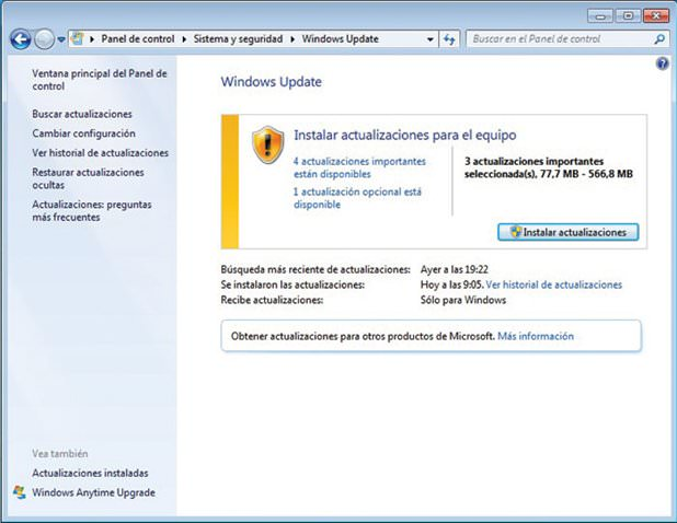 Actualitzacions Windows